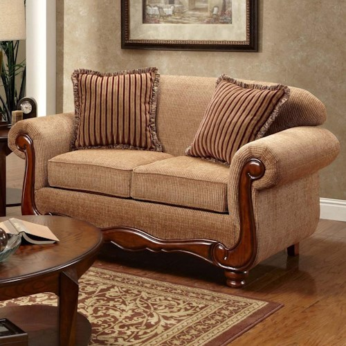 Washington Furniture 1000 Traditional Love Seat with Rolled Arms