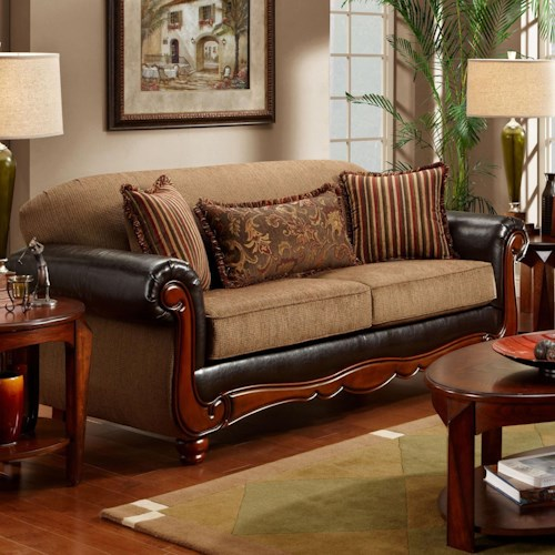 Washington Furniture 1030 Radar Mocha Traditional Two-Tone Rolled Arm Sofa with Wood Trim