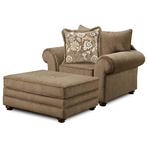 Washington Furniture 1120 Casual Chair with Ottoman