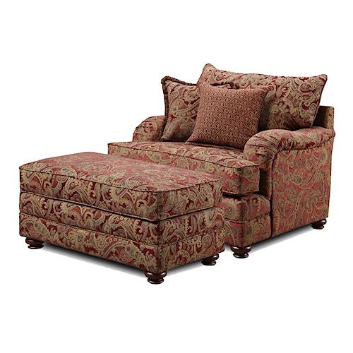 Washington Furniture 1130 Traditional Chair and Ottoman Set