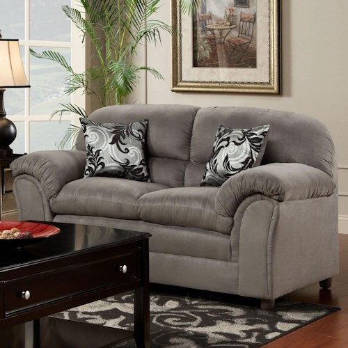Washington Furniture 1250 Casual Loveseat with Pillow Top Armrests