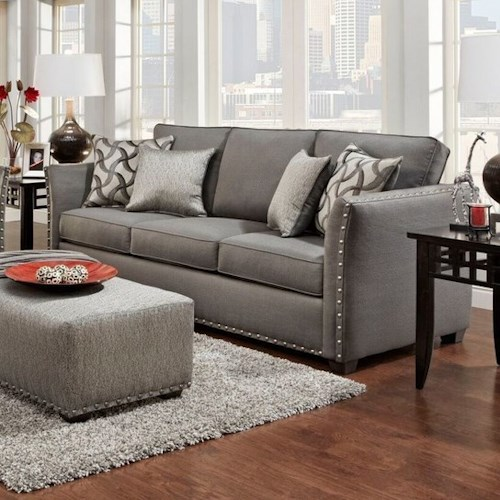 Washington Furniture 1380 Washington Contemporary Sofa with Flare Tapered Arms