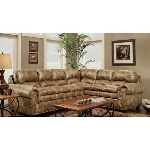 Washington Furniture 1450 Washington Traditional 6 Seat Sectional with Nailhead Trim