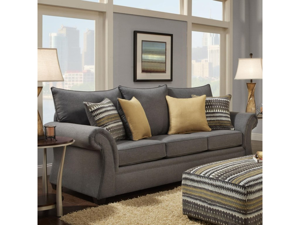 Washington Furniture 1560 Transitional Sofa with Rolled Arms Del