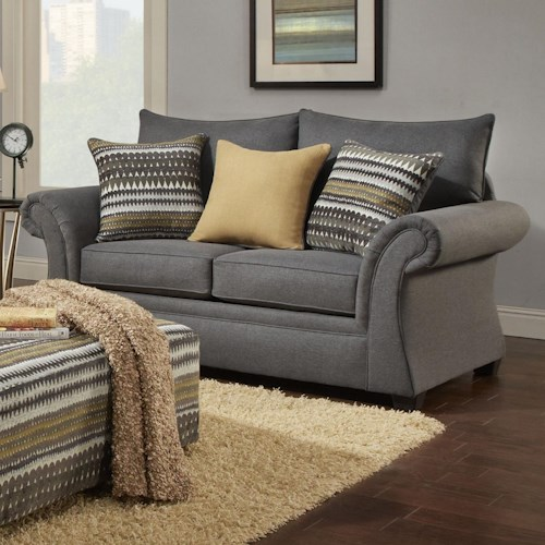 Washington Furniture 1560 Transitional Loveseat with Rolled Arms