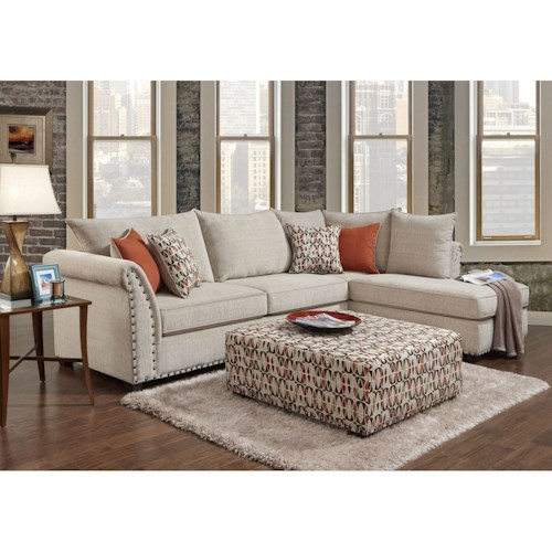 Washington Furniture 1850 Contemporary 3 Seat Sectional with Right Arm Facing Chaise