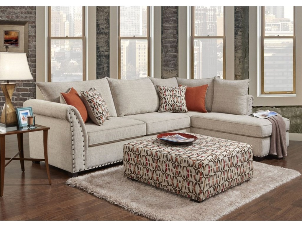 Washington Furniture 1850 Contemporary 3 Seat Sectional with Right