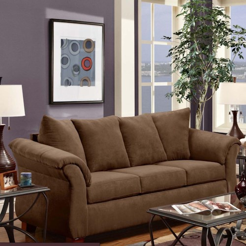 Washington Furniture 2000 Three-Seat Stationary Sofa with Flared Arms