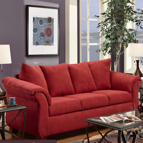 Washington Furniture 2000 Three-Seat Stationary Sofa with Flared Arms