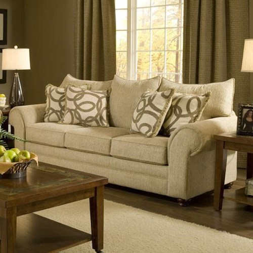 Washington Furniture 2120 Traditional Stationary Sofa with Large Rolled Arms