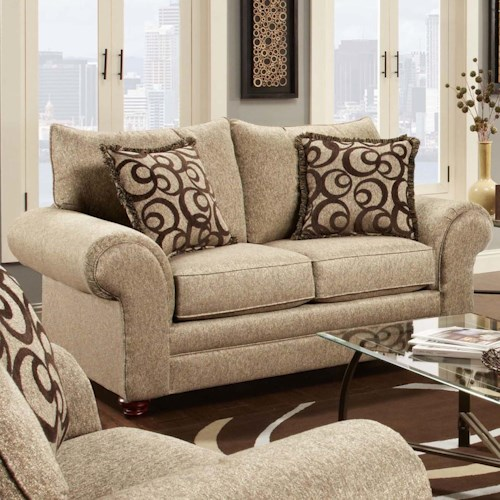 Washington Furniture 2120 Traditional Loveseat with Oversize Rolled Arms