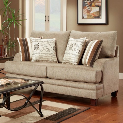 Washington Furniture 2230 Transitional Loveseat with Exposed Wood Feet