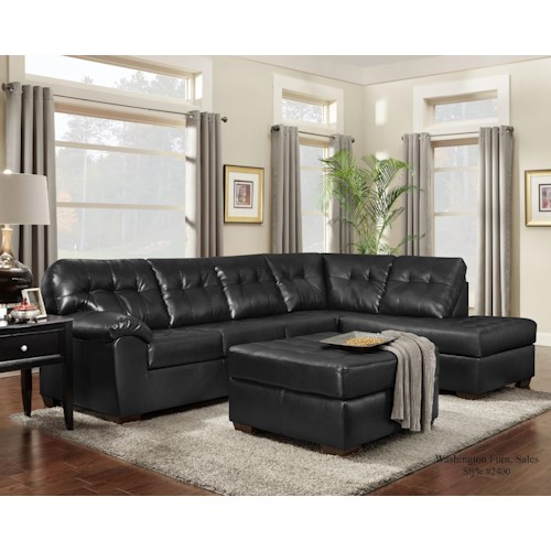 Washington Furniture 2400 Contemporary RSF Chaise Sectional