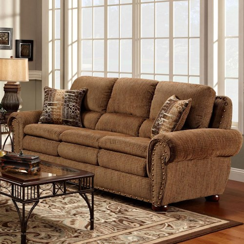 Washington Furniture 3400  Upholstered Sofa with Rolled Arms