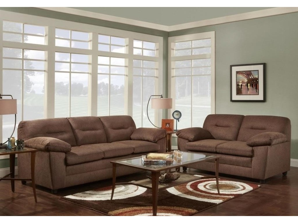Washington Furniture 3670 Casual Love Seat with Pillow Arms Del