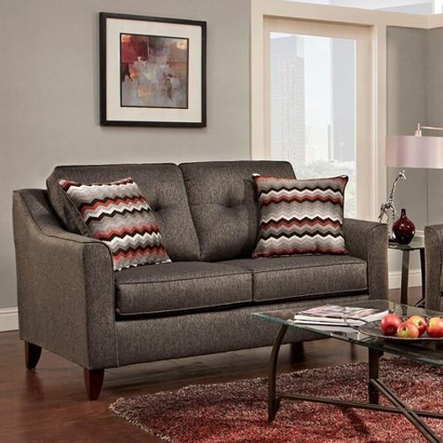 Washington Furniture 4840 Contemporary Love Seat with Curved Track Arms