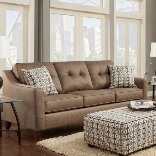 Washington Furniture 4840 Contemporary Sofa with Curved Track Arms