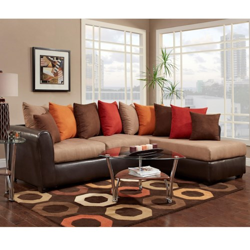 Washington Furniture 6700 Sectional with RSF Chaise and Pillow Back