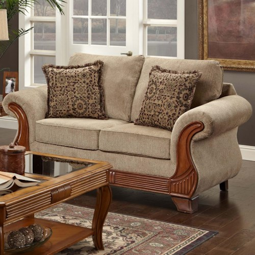 Washington Furniture 7000 Traditional Love Seat with Exposed Wood Accents