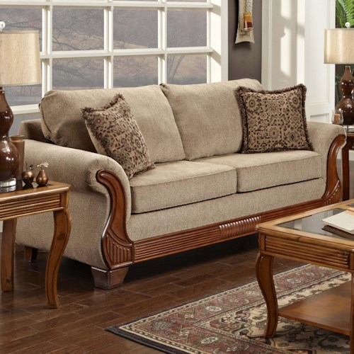 Washington Furniture 7000 Traditional Stationary Sofa with Exposed Wood Accents