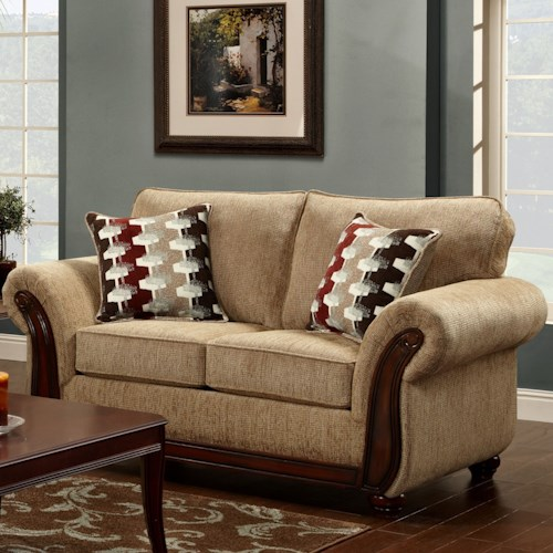 Washington Furniture 8100 Washington Traditional Love Seat with Exposed Wood Trim