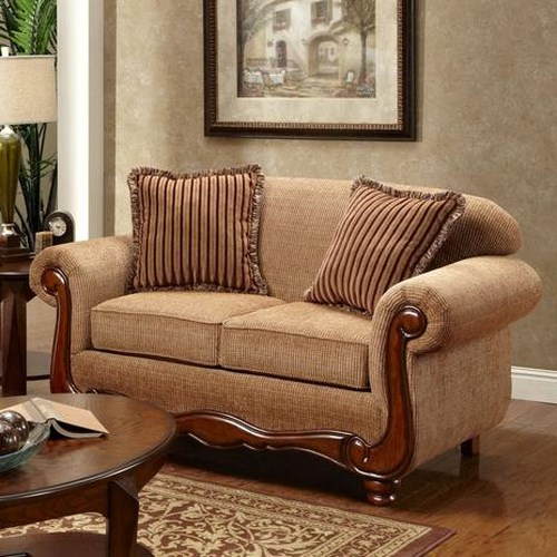 Washington Furniture Key West Umber Transitional Rolled Arm Loveseat with Scrolled Wood Trim
