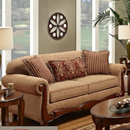Washington Furniture Key West Umber Transitional Rolled Arm Sofa with Scrolled Wood Trim