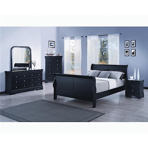 Wayside Furniture Louis Black 4pc Queen Bedroom