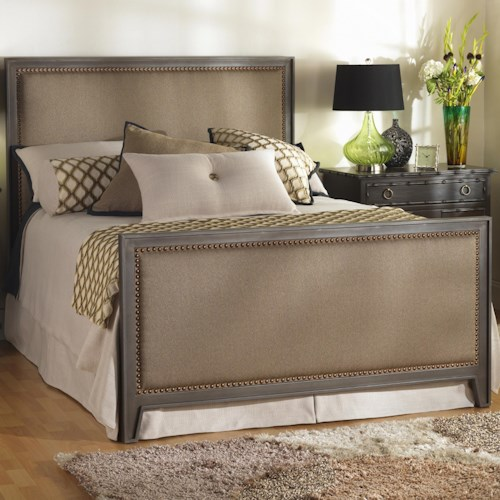 Morris Home Furnishings Iron Beds Queen Avery Iron Bed with Upholstered Panels and Nailhead Trim