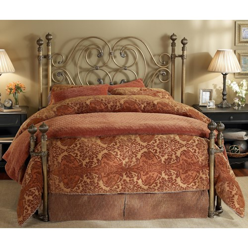 Wesley Allen Iron Beds King Alhambra Iron Headboard Bed with Open Footboard Return Posts