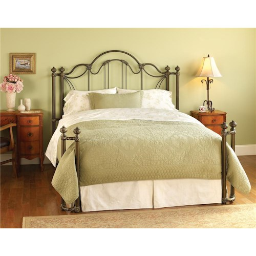 Morris Home Furnishings Iron Beds King Marlow Headboard and Open Footboard Bed with Return Posts