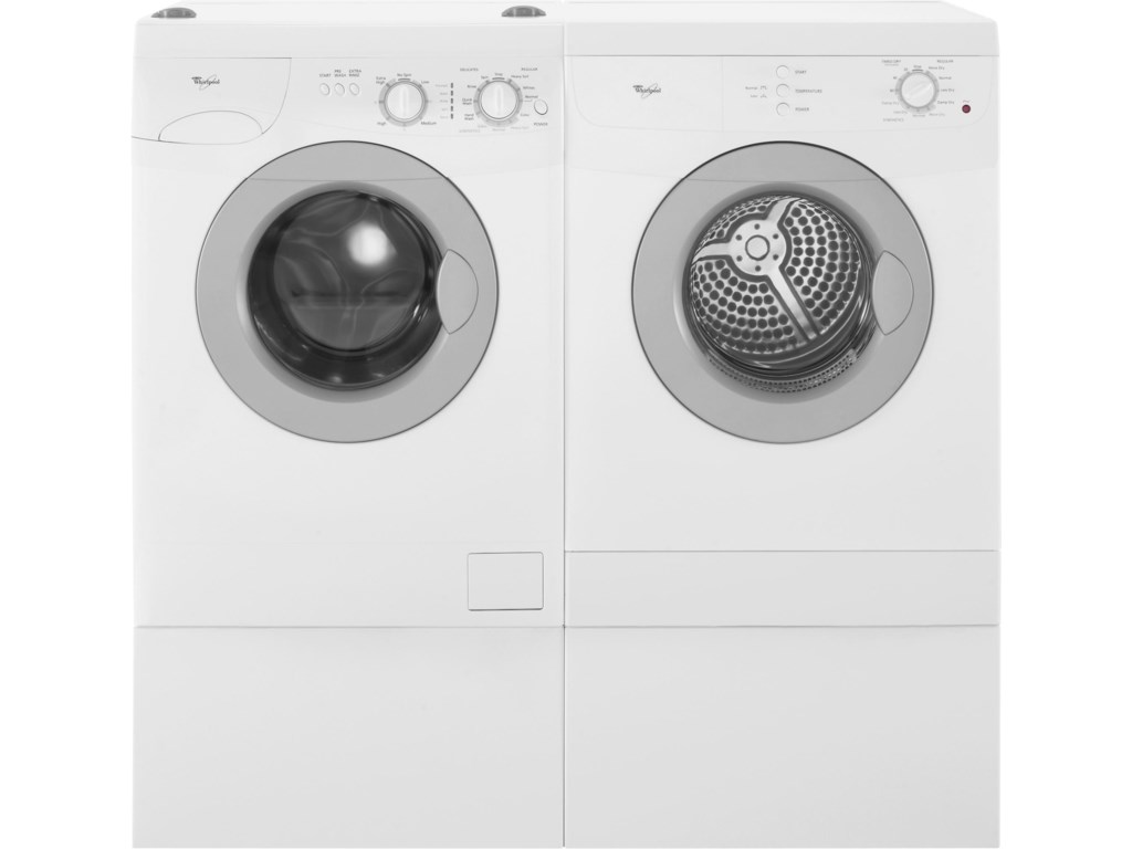 Two Laundry Pedestals Shown with Washer and Dryer