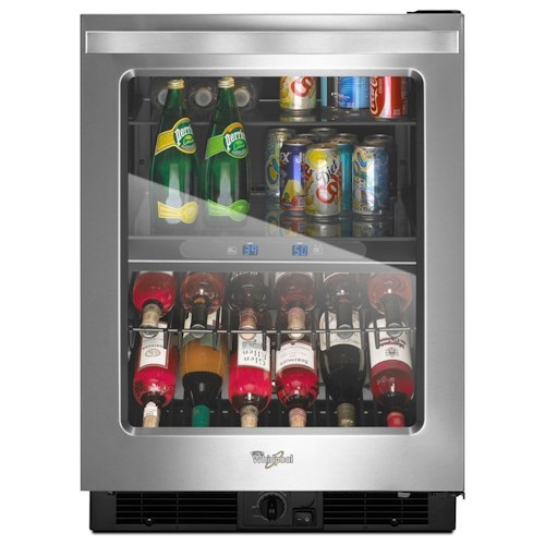 Whirlpool Wine Cellars 24-inch Wide Undercounter Beverage Center with Dual-temperature Controlled Zones - 5.8 cu. ft.