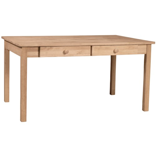 Whitewood Juvenile Kid's Table with 2 Drawers