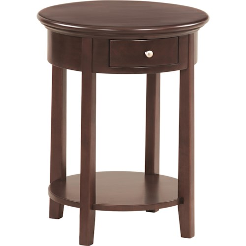 Whittier Wood McKenzie Round Side Table with Drawer and Shelf