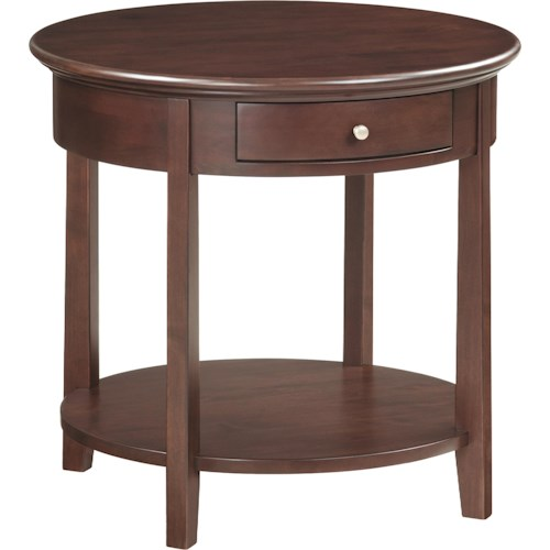 Mckenzie Caffe 39 Round End Table With Shelf And Drawer Rotmans End Tables Worcester Boston
