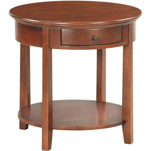 Whittier Wood McKenzie Round End Table with Shelf and Drawer