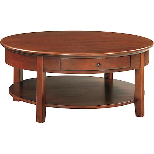Whittier Wood McKenzie Round Cocktail Table with Shelf
