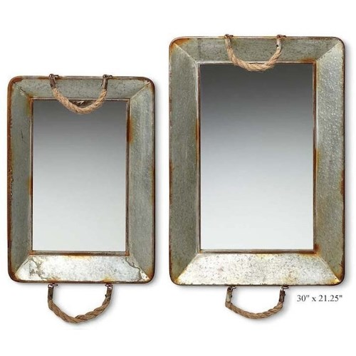 Will's Company Accents Galvanized Mirrored Trays - Set of 2 - 30