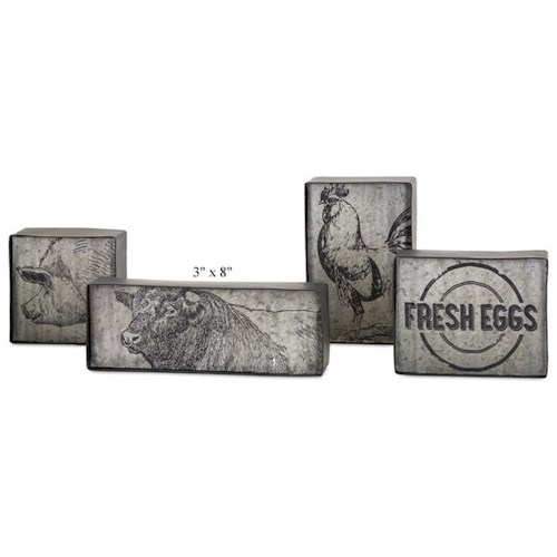 Will's Company Accents Country Metal Blocks - Set of 4