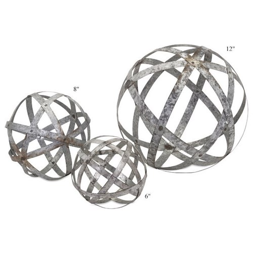 Will's Company Accents Galvanized Spheres - Set of 3 - 6