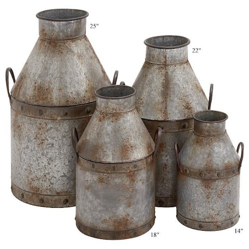 Will's Company Accents Galvanized Metal Cans Set of 4 - 14