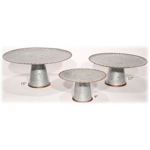 Will's Company Accents Galvanized Stands/Pedestals Set of 3 - 9
