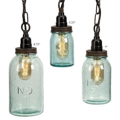 Will's Company Accents Set of 3 Jar Pendant Ceiling Lights