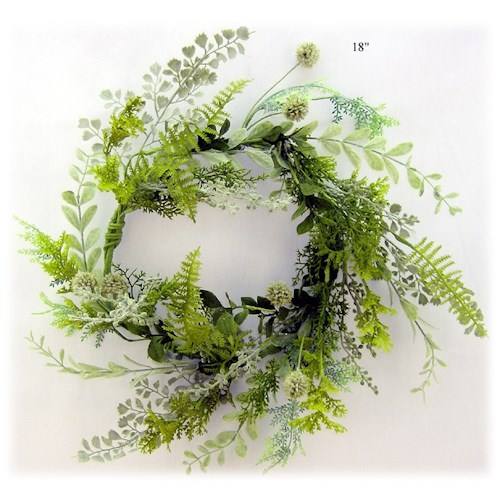 Will's Company Accents Mixed Greens Wreath - 18