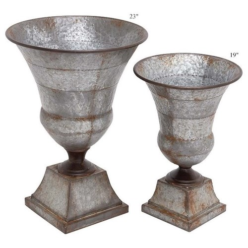 Will's Company Accents Galvanized Metal Urns Set of 2 - 19