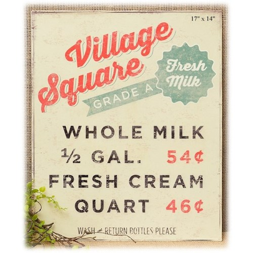 Will's Company Accents Village Square Milk Wall Sign - 17