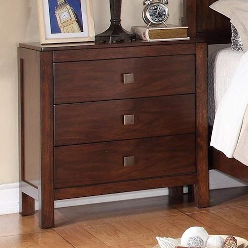 Winners Only Hampshire 3-Drawer Night Stand with Walnut Finish