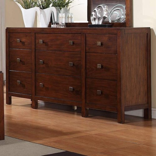Winners Only Hampshire 9-Drawer Dresser with Oversized Hardware and Walnut Finish