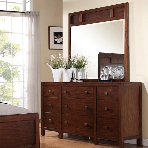 Winners Only Hampshire 9-Drawer Dresser and Beveled Glass Mirror with Walnut Frame Set